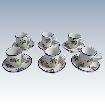 6 French Vintage Bistro Coffee Cups Authentic and Charming