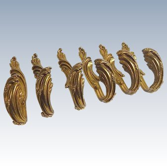 6 Vintage French Bronze Curtain Hold-backs