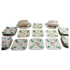 French Asparagus Service by Longchamp with 19 Square Plates and 2 Servers in 'Pompadour' Pattern