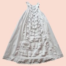 English Victorian Christening Gown with Masses of Ruffles and Embroidery