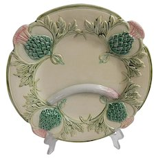 French Antique Majolica Asparagus Plate