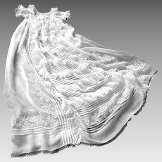 French Christening Gown Handmade with Lots of Embroidery, Lace and Tucks c.1890/1910