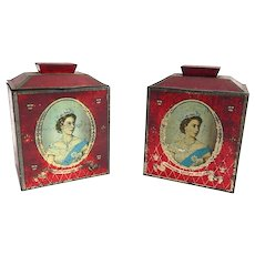 Pair of English Tins Commemorating the Coronation of Queen Elizabeth ll 1953
