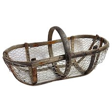 Handmade Vintage French Oyster Gathering Basket