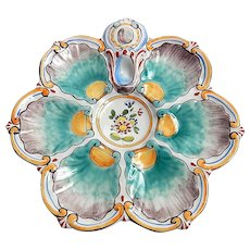 Antique French Oyster Plate with Hand Painted Decoration St Clement, Keller et Guerin c1900