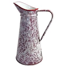 French Vintage Pitcher Enamelware in 'Spatter' Finish