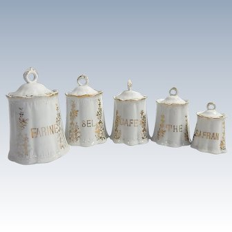 5 Antique French Porcelain Canisters 'Belle Epoque' Rare Set with Lids