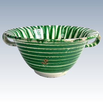 Old French Provencal Hand Thrown Pottery  Bowl for Salad c.1890/1910