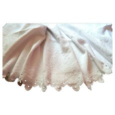French Vintage White Pique Coverlet with Scalloped Border c.1900 'Couverture de Mariage'