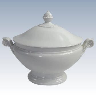 French Antique White Porcelain Soup Tureen 19th Century