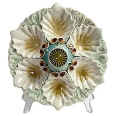 Orchies Majolica  6 Well Oyster Plate c. 1890