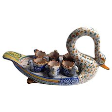 French Quimper Swan Egg Server with 6 Egg Cups Piece for Collectors