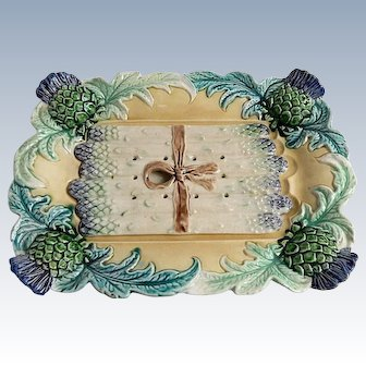 French Vintage Asparagus Server in Majolica Vintage from Fives-Lille