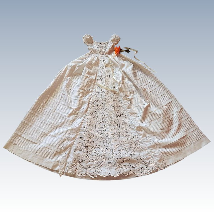 82d97673b Victorian English Christening Gown with Exceptional Hand Embroidery ...
