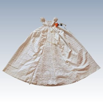 Victorian English Christening Gown with Exceptional Hand Embroidery