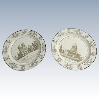 """2 Antique French Plates Monuments of Paris Theme 'Notre Dame and l'Egilse St. Genevieve/Pantheon"""" Stone Cocquerel Creil c1810"""