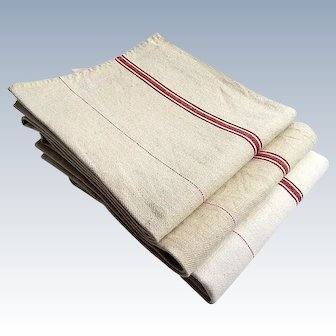 French Linen Torchon or Vintage French Kitchen Towel with Red Stripes...Huge Size! Listing is for 1 Towel
