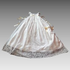 Elegant Vintage French Christening Gown with Fine Lace Applique