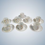 8 French Antique Limoges Coffee or 'Demitasse' Cups