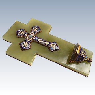 Antique French Cross and Benitier in Cloisonne Enamel mounted on Brass and Green Onyx
