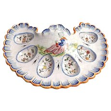 French Egg Server by Malicorne Hand painted and signed by Beatrix Pouplard c.1900