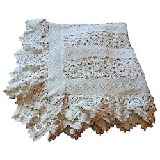 French Vintage Coverlet in Beautiful Lacy Hand Made Crocheted Pattern
