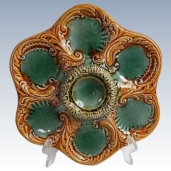 French Majolica  6 Well Oyster Plate c. 1910