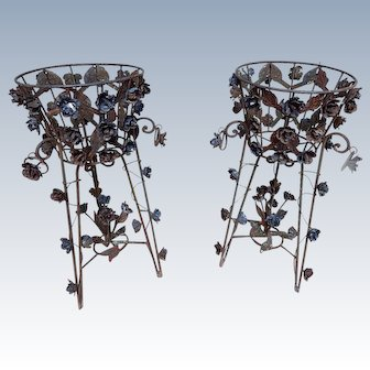 Pair of French Vintage Jardinières or Plant Stands hand Wrought Metal w/Roses