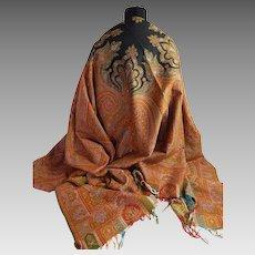 Turn-of-the-Century Paisley Kashmir Shawl in Wool c. 1890-1910
