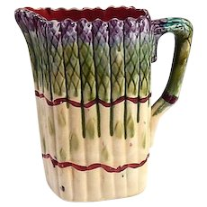 French Asparagus  Pitcher in Majolica by Onnaing  c.1910
