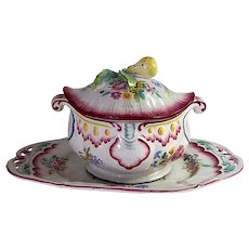 Hand Painted French Antique Faience Soup Tureen marked 'VP' for 'Veuve Perrin'