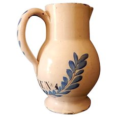 French Faience Pitcher in Creamy White and Blue for Oil Late 1700s to early 1800s