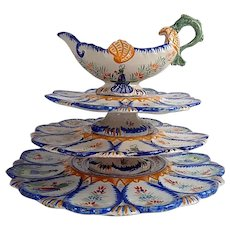 French Faience Quimper Oyster Server with Hand Painted Decoration...and Sauce Boat c. 1920