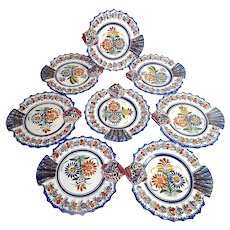 French  Vintage Quimper Fish Plates Set of 8