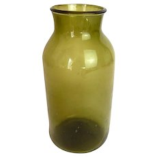 French Handblown Glass Antique Truffle Preserving Jar in Olive Green