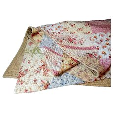 French Boutis, Large Traditional, in a Patchwork of Cottons, Vintage French Quilt