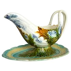 French Porcelain Sauce Boat in Asparagus Pattern