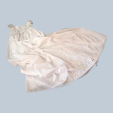 Antique Ayrshire Christening Gown Handmade with Exceptional Embroidery c.1850