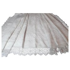 French Vintage Linen Sheet of Large Size with Exceptional Embroidery and Hand Made Lace