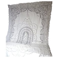 Tablecloth with 12 Matching Napkins in Finest Linen with Extraordinary Hand Work