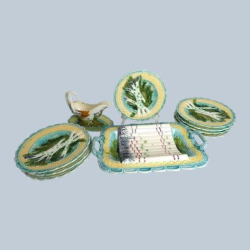 French Majolica Asparagus Server with 8 Plates and Rare Sauce Boat