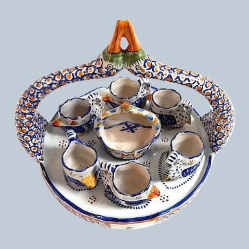 French Quimper Swan Egg Server with 6 Egg Cups...for Collectors