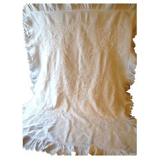 French Vintage White Pique Coverlet with Lavish Hand Embroidery