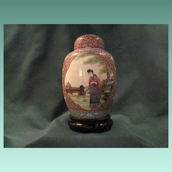 Antique Chinese Porcelain Ginger Jar With Two Scenic Reserves And Carved Stand