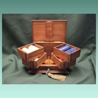 Vintage Poker Chip And Playing Card Storage Case