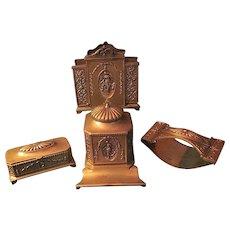 Antique Jennings Brothers Edwardian Inkwell, Blotter, Letter Holder, and Stamp Box Desk Set