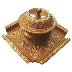 Antique Austrian Bronze Regency Style Inkwell With Original Milk Glass Ink Reservoir