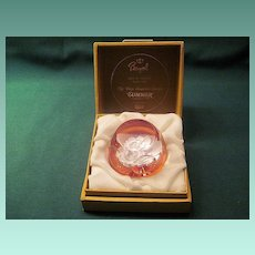 Vintage Bayel French Summer Faceted Sulphide Paperweight In Original Box