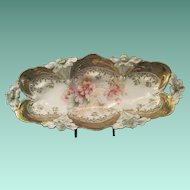 Vintage Prussian Porcelain Lily Pattern Celery Dish With Gold And Enhanced Transfer Decoration