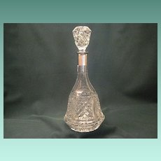Vintage Cut Crystal Bell Shaped Decanter WIth Sterling Top Collar